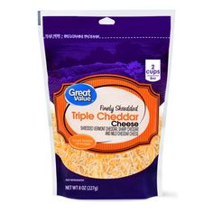 Great Value Mild Shredded Cheddar Cheese, 16 oz Cheese Packaging, Food Packaging, Packaging Design, Cereal Recipes, Snack Recipes, Snacks, Healthy Recipes, Cheese Crisps, Cheddar Cheese