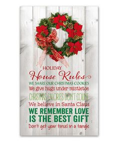 Look at this 'Holiday House Rules' Wall Plaque on #zulily today!