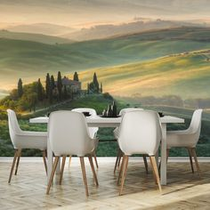 Fototapeta z widokiem toskańskich wzgórz #jadalnia #fototapeta #toskania #wlochy #natura #pola #diningroom #photowallpaper #mural #photo #tuscany #italy #nature #farmland Dining Chairs, Furniture, Home Decor, Dining Chair, Decoration Home, Home Furnishings, Interior Design, Home Interior Design, Tropical Furniture