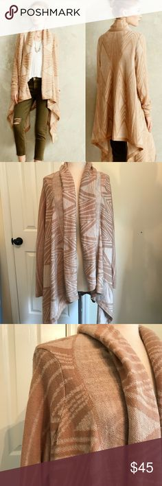 """Anthro Moth Beige Ivory Open Waterfall Cardigan Moth Cream/Ivory Print Open Cardigan (would be cute belted). Size M but runs big. VGUC due to pilling but will come off with shaver. C~22"""". Anthropologie Sweaters Cardigans"""