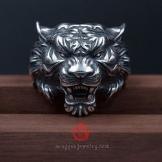 Sterling Silver 925 Tiger Ring, With Aged Finish, Oxidized Silver, Songyan Jewelry Diamond Jewelry, Jewelry Rings, Jewellery, Lion Ring, Dragon Ring, Biker Rings, 3d Models, Sea Glass Jewelry, Sterling Silver Jewelry