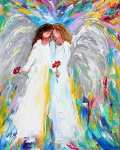 Angel Hugs painting in oil palette knife impressionism on