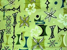 Retro Atomic Barkcloth Fabric -- HaWAiiAN TiKi ViBE
