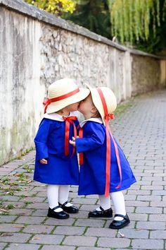 "Little girls dressed up as ""Madeline""."