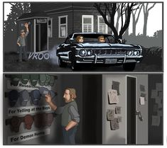 Encyclopedia of Weirdness: A Weekly Supernatural Fan Comic This Week: Thinking Cap: (noun) A state of mind marked by Bobby's reflection, concentrat. Encyclopedia of Weirdness 12 Winchester Boys, Winchester Brothers, Supernatural Bobby, Supernatural Quotes, Sherlock Quotes, Decimo Doctor, Bobby Singer, Fanart, Illustrations