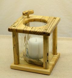Wooden Hanging Candle Lantern, Handcrafted Spalt Maple, Pillar size candle,