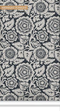 Block Print Blossom Wallpaper in Midnight Tonight by Milton & King | BURKE DECOR