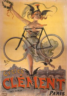 Cycles Clement. -  This piece is a wonderful reproduction of a vintage French bicycle advertising art nouveau poster for ' Cycles Clement' by Pal in Paris, France in 1898.