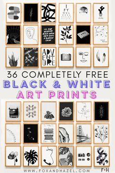 36 Totally Free Black and White Art Prints   Fox + Hazel