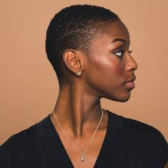 Sterling Silver Intersect Earrings by Goldeluxe Natural Hair Short Cuts, Short Natural Haircuts, Tapered Natural Hair, Short Hair Cuts, Natural Hair Styles, Big Chop Hairstyles, Diy Hairstyles, Black Hairstyles, Ladies Hairstyles