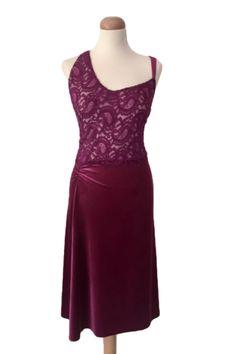 Fuchsia velvet tango dress with lace  #milongadress #argentinetangodress #sexy #performancedress