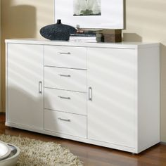 Plus-2 Two Door Four Drawer Cupboard (Alpine White)