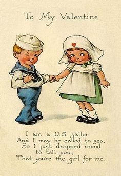 """Sailor to NURSE Valentine Post Card; """"You're the Girl For Me""""."""