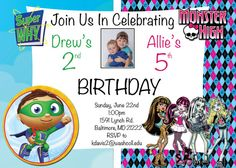 Sibling Birthday Invitation  Monster High and by CustomPartyDecor
