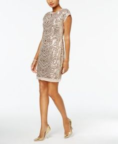 Vince Camuto Geo-Sequined Shift Dress