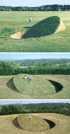 Grassy Inclines Embedded in the Ground by Tanya Preminger Throw the Earth Off Balance Landscape Architecture Design, Futuristic Architecture, Landscape Art, Instalation Art, Environmental Art, Public Art, Garden Inspiration, Garden Art, Street Art