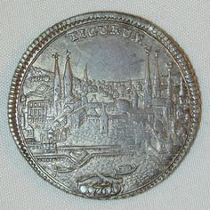 1761 Rare Switzerland Half Thaler Silver Coin Extremely Fine Zurich City View Nicely Toned KM