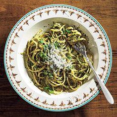 Vegetarian Recipes: Linguine with Spinach-Herb Pesto   CookingLight.com