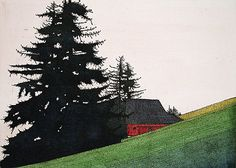 Art Hansen. Vashon Farm, 2000. Hand colored etching. Edition of 150. 8-3/8 x 11 inches. $500