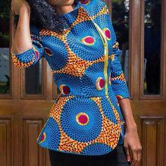 African print classy peplum top african top african by HouseOfIzzi