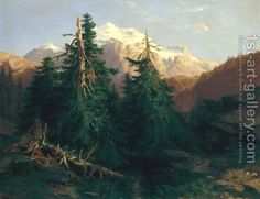 Glacier, Rosen Lanigletscher, 1854 Alexandre Calame   Oil Painting Reproduction   1st-Art-Gallery.com