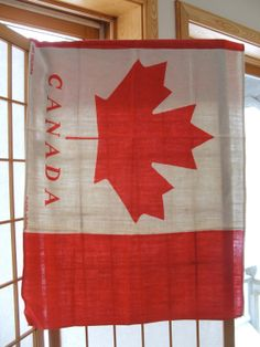 Vintage Linen Canada Flag Red Maple Leaf Wall by lookonmytreasures, $25.20