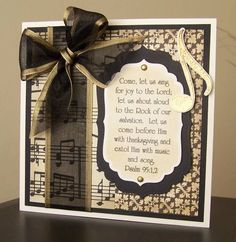 Sing for Joy by bfinlay - Cards and Paper Crafts at Splitcoaststampers Handmade Greetings, Greeting Cards Handmade, Music Greeting Cards, Scripture Cards, Beautiful Handmade Cards, Graduation Cards, Christmas Cards, Holiday Cards, Pretty Cards
