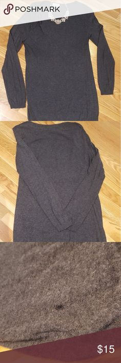 LOFT dark grey long sleeved shirt GUC, XL, dark grey, wool blend, cute roushing neck one side, long length, small hole bottom front corner (see photo), cleaned per directions LOFT Tops Blouses