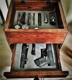 Keeping all your EDC gear in one spot each night. Hidden Gun, Gun Rooms, Edc Tactical, Edc Everyday Carry, Edc Carry, Gun Cases, Gun Storage, Edc Gear, Guns And Ammo