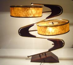 1950's Fabulously Wild Space Age Majestic Z / Zig Zag atomic lamp in brown and brass with original shades. $799.00, via Etsy.