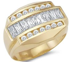 New Solid 14k Yellow Gold Mens Heavy Large Cubic Zirconia Band Ring. This brand new ring has a dazzling high polish finish. Solid and Pure 14k Gold, NOT plated. Authenticated with a 14k stamp. This ring is absolutely stunning and we are confident you will love it. The stone shapes included in this ring are Round and Baguette.
