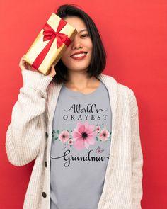 World's Okayest Grandma - Pink Flowers Watercolor - Ash #firefighting #chiver #feuerwehrauto mom body, mom inspiration, milftoon mom, dried orange slices, yule decorations, scandinavian christmas