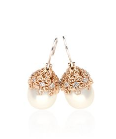 Pearl drop earrings feature freshwater pearls suspended from a cap mastercrafted in rose or white gold and set with beautifully glistening diamonds amongst intricate rose detail. Pearl Drop Earrings, Pearl Jewelry, Jenna Clifford, Pearl Design, Aaliyah, Dear Santa, Diamond Studs, White Gold, Jewels