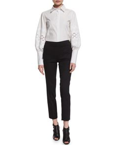 Pouf-Sleeve+French-Cuff+Blouse+&+Mid-Rise+Skinny+Cropped+Pants+by+Carolina+Herrera+at+Neiman+Marcus.