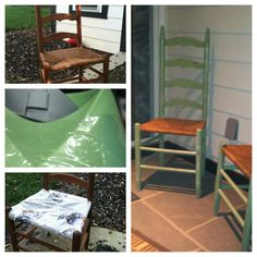 Garage Sale gone shabby!! 2 ladder back chairs, old brown color...went to the hardware store and got a few items. I did a stain to darken the wood, the painted over the stain with a moss green, distressed it and put a clear coat over it.  For about $13.00 I now have 2 fall chairs for the entry way into the mud room. Easy easy ways...
