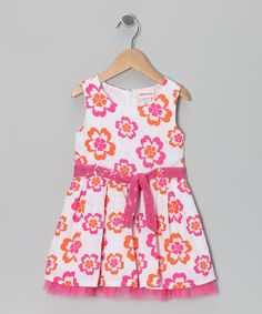 Take a look at this Pink & Orange Flower Sash Dress - Infant & Toddler by Little Lass on #zulily today!
