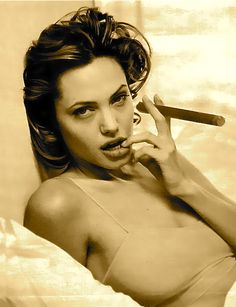 Jolie's Stogie...I did not think it possible for Angelina to be more beautiful, then I saw this pix with the cigar!