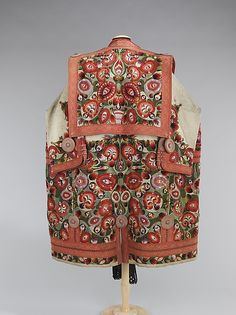 """Hungarian """"szűr""""(mantle or cape) of ancient Central Asian origin, embroidered back view, 19th c."""