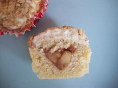Apple crumble cupcake - vanilla cake, spiced apple compote, custard and cream whipped with a crumble topping.