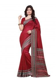 Shonaya Red Color Silk Printed Saree With Unstitched Blouse Piece