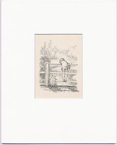 Pooh Sticks, Antique Print 1930s