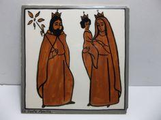 "Vintage Santa Fe Art Tile LA SANTA FAMILIA Holy Family HAND PAINTED 6"" #unknown"