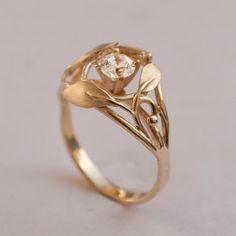 Leaves Engagement Ring No. 5 - 14K Gold and Diamond engagement ring, engagement ring, leaf ring, filigree, antique, art nouveau, vintage