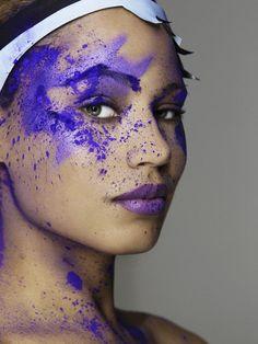Tahlia's powder photoshoot - in purple on America's Next Top Model
