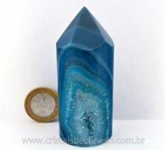 Ponta Agata Azul Gerador Roliço Pedra Lapidado Mineral Natural Cod 181.1