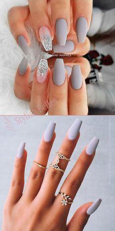 Amazing gray coffin nails designs – My World Grey Nail Art, Gray Nails, Best Acrylic Nails, Summer Acrylic Nails, Classy Nails, Cute Nails, Diy Maquillage, Pin On, Halloween Nails