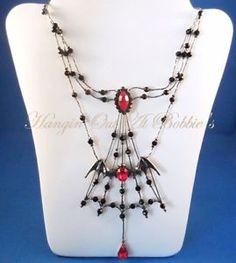 Vampire Bat Necklace Red Black Crystal Halloween Jewelry