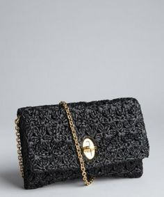 Dolce   Gabbana black leather and raffia chain strap crossbody bag Review Buy Now