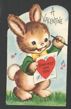 A Valentine especially for you • Vintage bunny rabbit Valentine card