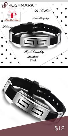 Men's black punk rubber stainless steel baracelet Hot Men's Black Punk Rubber Stainless Steel Wristband Clasp Cuff Bangle Bracelet Condition: 100% Brand New and High Quality ! This silicone wristband clasp cuff bangle bracelet Style: Casual Material: Rubber&Stainless Steel Band Length: 22cm/8.66'' (Approx.) Adjustable Width: 1cm/0.39'' (Approx.) Color: Black&Silver Package Included: 1 x Bangle Bracelet, Plus Nano Microfiber magic Cleaning Cloth When you buy this item Nano technolog…